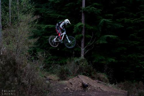 kieran Atherton casually hucking the road gap at Tavistock woodlands during round 4 of the winter series.Gawton Gravity Hub, Tavistock, Devon