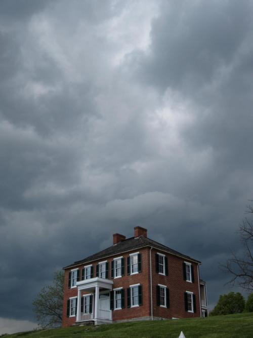 "The storm approaches. The Pry House in Sharpsburg, Md. which would serve as the headquarters for Union Commander General George B. McClellan during the battle of Sharpsburg, or Antietam Creek, September 17, 1862, from which he watched the carnage on the bloodiest day ever on American soil. ""I am to watch over you as a parent over his children; and you know that your General loves you from the depths of his heart"" George B. McClellan Mar 13 1862, address to the Army of the Potomac"
