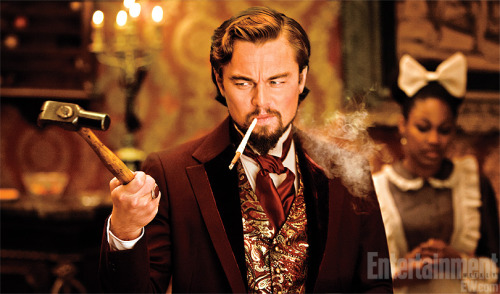 "entertainmentweekly:  Good morning! Here's an exclusive first look at Django Unchained, Quentin Tarantino's upcoming ""revenge western"" about an enslaved man (Jamie Foxx) who teams up with a German bounty hunter (Inglorious Basterds' Oscar-winning Christoph Waltz). Leonardo DiCaprio plays a deranged plantation owner named Calvin Candie who likes to make his toughest slaves fight to the death in gladiatorial combat. Consider our interest officially piqued. If you want more, check out a picture of Foxx and Waltz in character at Inside Movies."