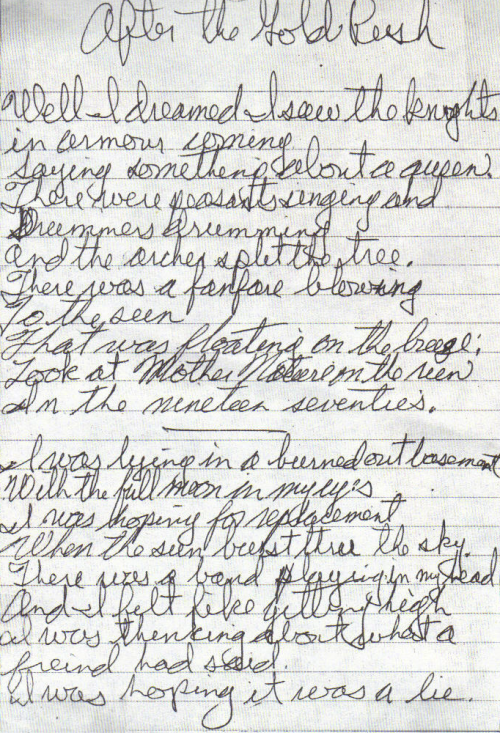 """After the Gold Rush "" lyrics, handwritten by Neil Young."