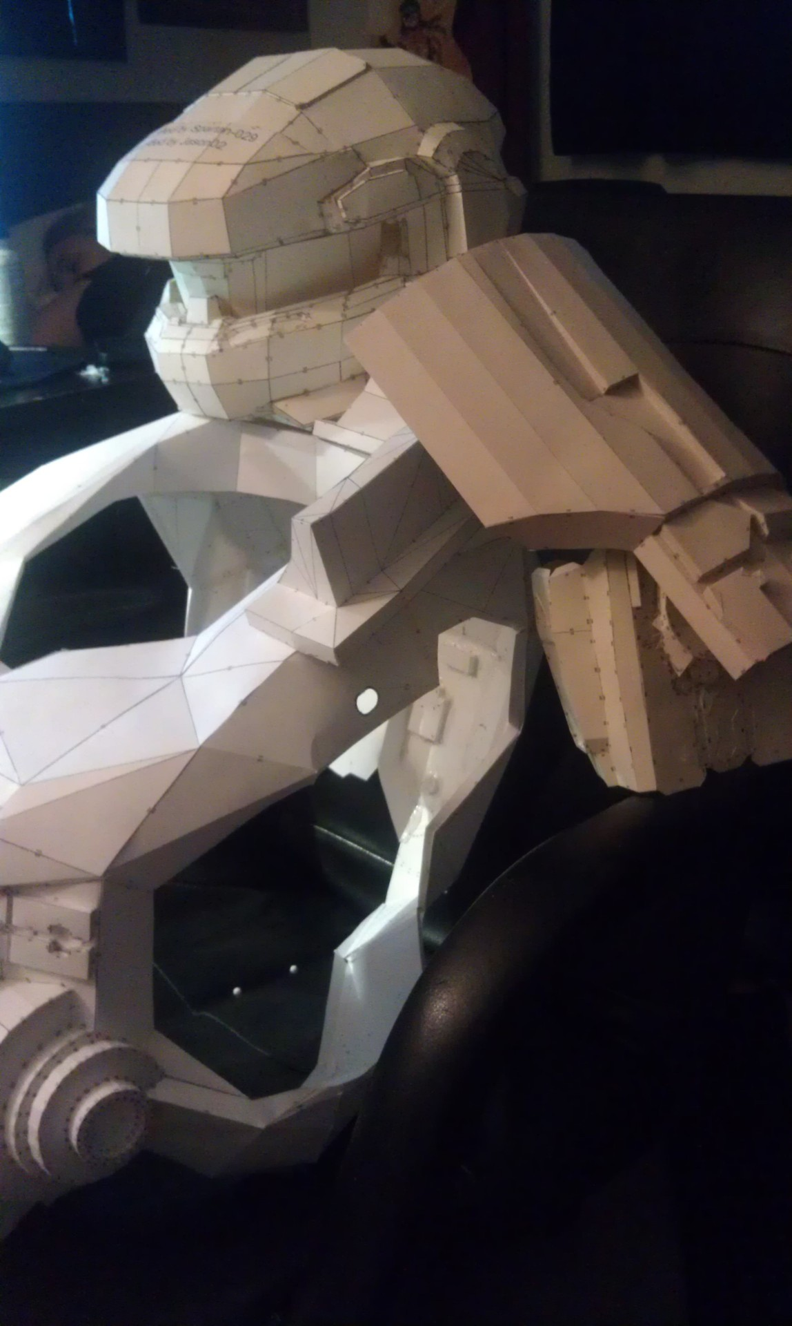 derekiscool666:  Recent work in progress shots on my Mark IV MJOLNIR Grenadier variant armor. This is my first shot at using pepakura and fiberglass to make armor. Also my first time making armor in general.    Summer goal, build this shit.