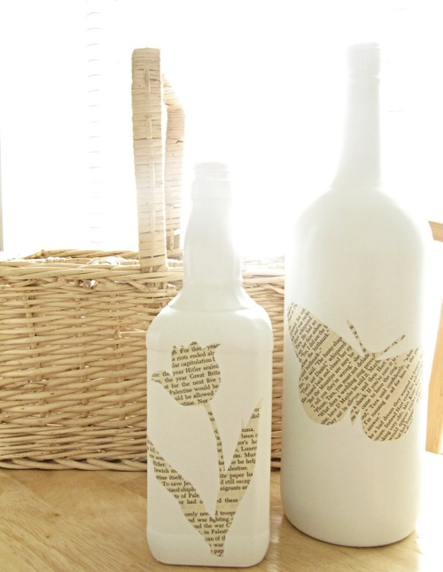 Book Page Bottles via The Wicker House