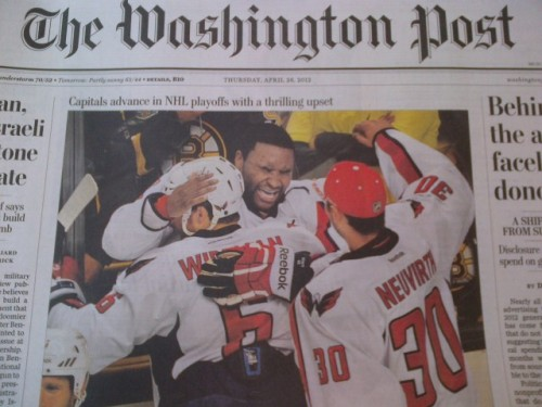 Joel Ward on the front page of The Washington Post.