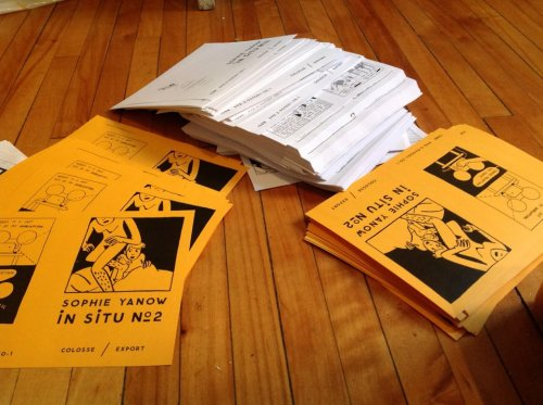 situology:  My new zine. Cover nudity! Swearing on the back! Stapling today. I'll have them in my bag and for sale at MoCCA this weekend, when I'm not slinging books behind the booth for Fantagraphics. Come say hi at the Fanta booth! Photograph by gnargnarnia  Sophie is the best.