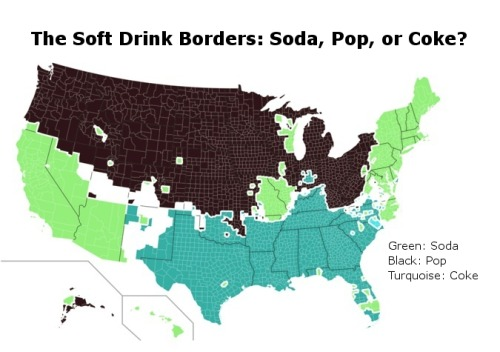 "Fun! (I've also heard ""soda pop"" used in parts of St. Louis, which seems to me to be a characteristically Missouran equivocation.) theatlantic:  The Invisible Borders That Define American Culture  One of the clearest regional differences in the U.S. can found by tracking the words people use to refer to soft drinks, which is in fact the map you saw at the top of this story. Pop or soda, or even Coke, these small linguistic differences are not as small as we might think. While ""soda"" commands the Northeast and West Coast (green) and ""pop"" is in between (black), ""Coke"" reigns in the south (turquoise). These small distinctions can often act as touchstones for larger cultural differences. Read more. [Image: Samuel Arbesman]"