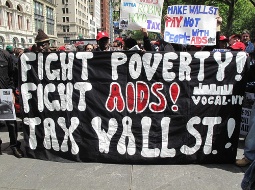 10 Arrests at ACT UP Protest on Wall Street ACT UP joined the Occupy movement to protest changes to New York City's AIDS housing policies and to demand a tax to end AIDS, according to an ACT UP statement. Ten activists were arrested after chaining themselves to the entrance of the New York Stock Exchange on Wall Street. Click here to read more and check out pictures and video from the protest.