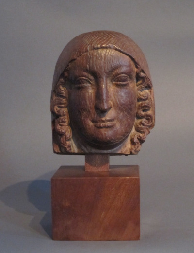 gallarusarts:  Italy, 1100's Head of Mary, oak.