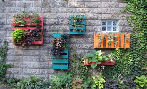 unconsumption:  Pallets — wall mounted and repurposed as planters. 'Nuff said. (photo via Stacy K Floral)
