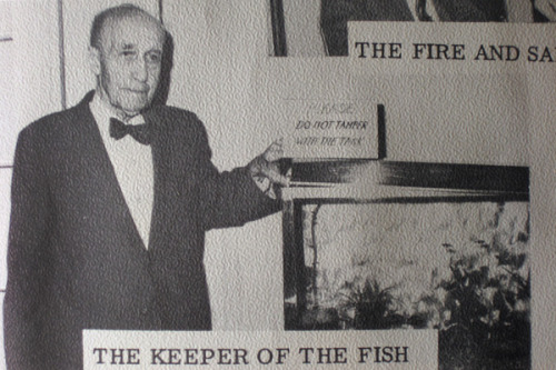 Keeper of fish c. 1967. He still keeps watch - over Activity Committee's fish.