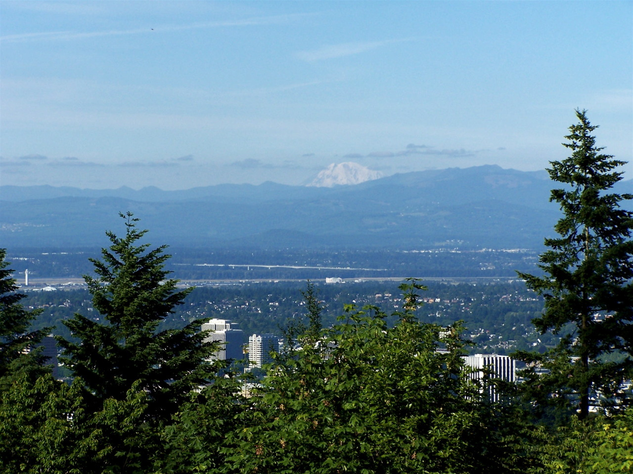 Mt. Adams from Council Crest, with Portland International Airport and the Glenn Jackson Bridge in the foreground.