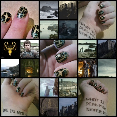 Here's the photo board for my Greyjoy nails. I'm posting full sized pictures in a second because I took extra pics this time and they look pretty small on the collage.