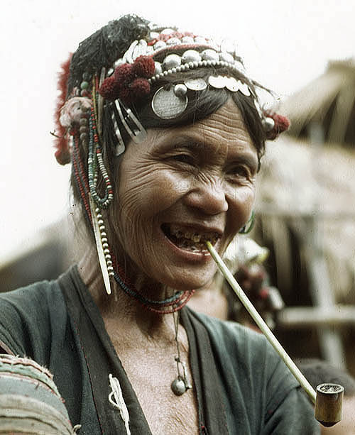 Akha pipe [tobacco], most commonly smoked by elderly women who smoke the leaves from the plants they cultivate themselves. Photo by writer, photographer and traveller Philip Game
