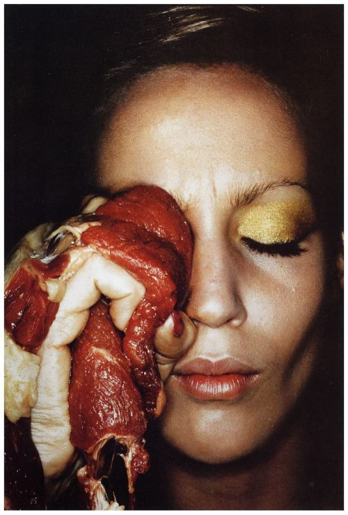 """A Cure for a Black Eye (Jerry Hall)"" Helmut Newton 1974"