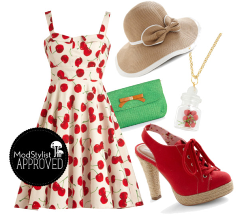 modcloth:  I think this 50's-inspired summery look would be perfect for a picnic in the park or a stroll down the boardwalk. (Via ModCloth Polyvore) <3 Jess, ModStylist Need styling suggestions, trend tips, or dress details? Ask a ModStylist and your question might be featured on our feed!  Apparently I used to have a Cherry Dress that was my favorite and wore consistently until I bascially wore it to death (According to my mother and the many pictures I've seen myself in it).  It would be fun to have an adult version.  A cheerful cherry dress will be my next goal!