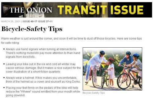 thegreenurbanist:  Bicycle-Safety Tips  Totally worth the squinting screen-kiss you have to do to read this.