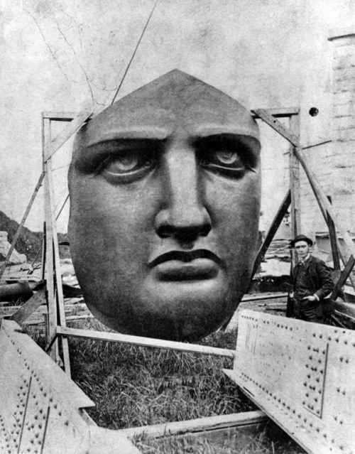Lady Liberty's face, as seen on Liberty Island, waiting to be installed…