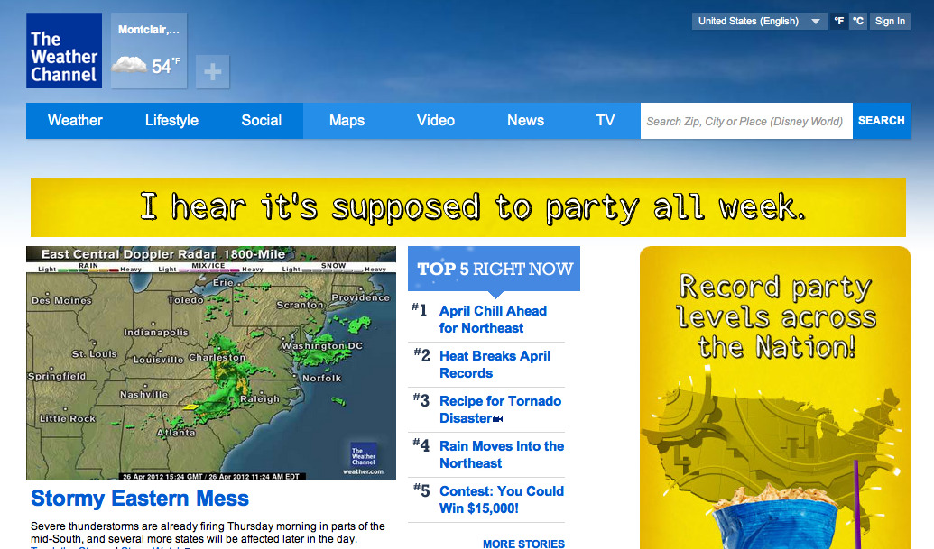 Went to weather.com just now. Apparently it's supposed to party all week?  Also, can you tell I'm working on something important, based on how much time I'm spending on Tumblr?