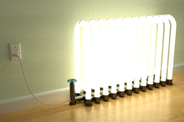 Repurposed radiator lamp