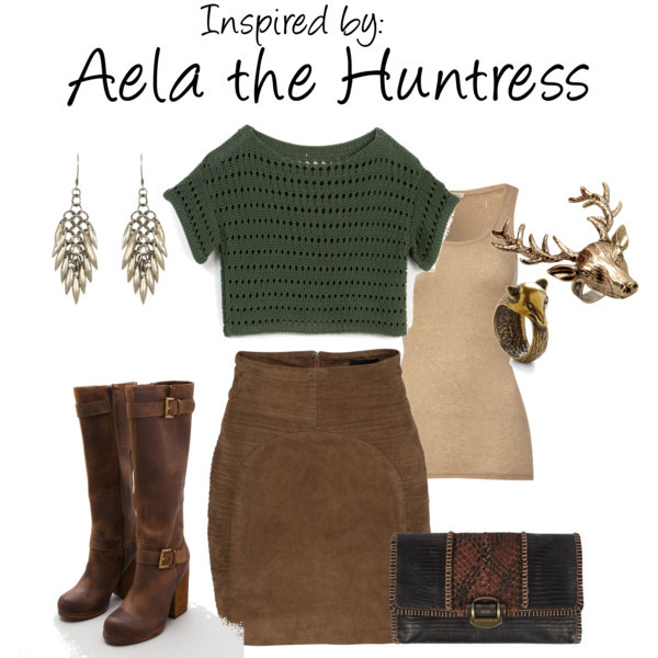 Aela the Huntress (Elder Scrolls V: Skyrim) by ladysnip3r featuring a leather clutch This look is inspired by the fantastic Aela the Huntress of Elder Scrolls V: Skyrim. I absolutely love this character and actually cosplay as her, so I was a little bit biased when someone requested it. I chose a similar palette to her own clothing, but with more casual (and covered) cuts. I also chose animal themed accessories because shes obsessed with going on those animal extinction quests. (Reference Image)