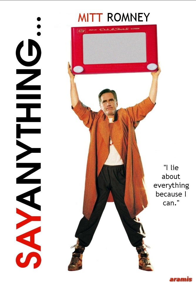 "destroythegop:  liberalsarecool:  ""Mr. Say Anything""  Mitt Romney: Was I lying then or am I lying now? ↓   I love this photo."