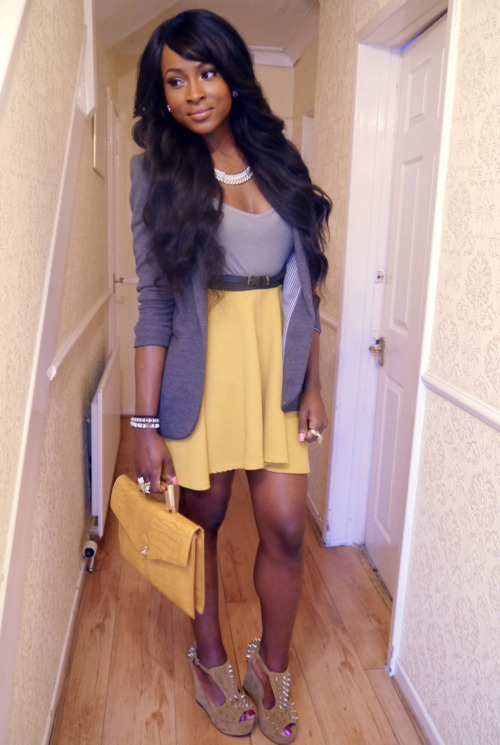 blackandkillingit:  fashion-love-africa:  Top- PrimarkBlazer- Primark( 2 years ago)Belt- PrimarkSkirt- boohoo.com (last year)Necklace- Forever 21Double Finger Ring- http://bit.ly/HUKvOt Flower Ring- can't rememberEarrings- Arndale MarketBracelets- (can't remember)Bag- River Island( last year)Spiked Wedges- http://bit.ly/I1eR1D  Black Girls Killing It Shop BGKI NOW