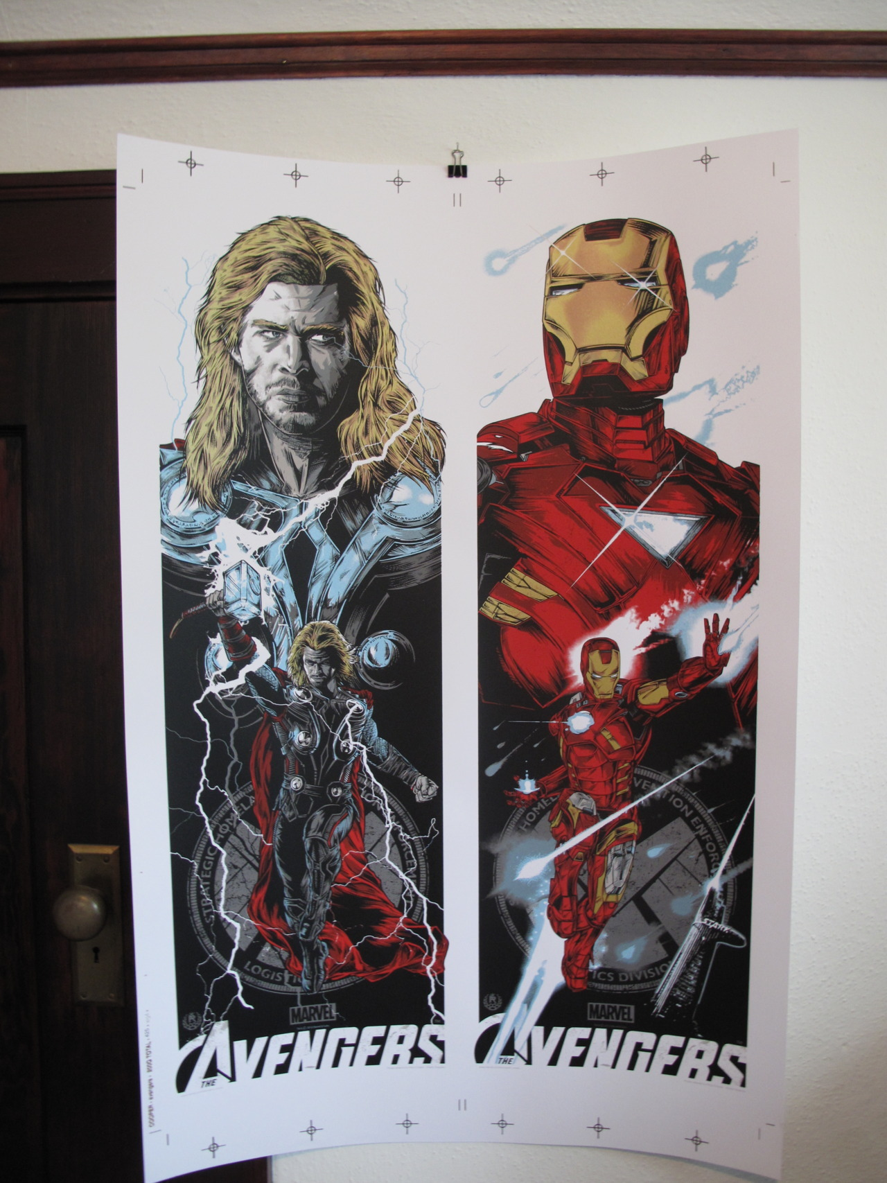 """THOR/IRON MAN"" UNCUT BY RHYS COOPER FOR GALLERY 1988'S ""ASSEMBLE"" SHOW ON MAY 3RD 6 COLORS including 2 metallics COUGAR 100LB. COVER IN WHITE"