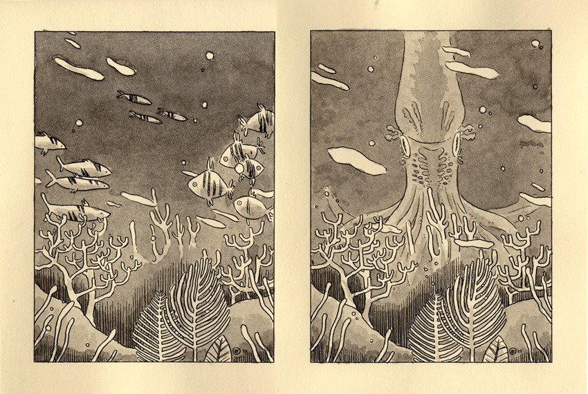 THE SEA AND THE SQUID. Two of the fifteen dollar sketches I do; you can buy one here, and see all the ones to date here. This was part of a 4-piece anniversary present for a designer I admire, thus the extra fancy stuff.