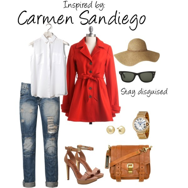 Carmen Sandiego (Where in the World is Carmen Sandiego?) by ladysnip3r featuring ray ban shades You'll definitely stand out from the crowd in this outfit inspired by Carmen San Diego. (Reference Image)