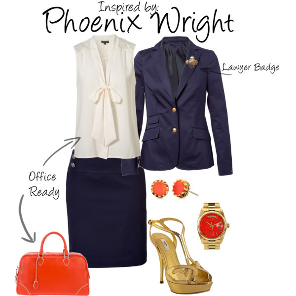 Phoenix Wright (Ace Attorney Series) by ladysnip3r featuring versace jewelry OBJECTION! I absolutely love the Ace Attorney series and jumped at this request to create a Phoenix Wright inspired outfit. I wanted to make something that was office ready, whether or not you really are a lawyer. (Reference Image)