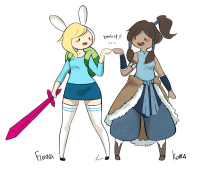 thepianofairy:  A doodle of Fionna & Korra to test out Danny's custom brush, I love the brush feel<3 I think I might use it to draw other stuffs in the future too. *edit* add some shadings.-3-