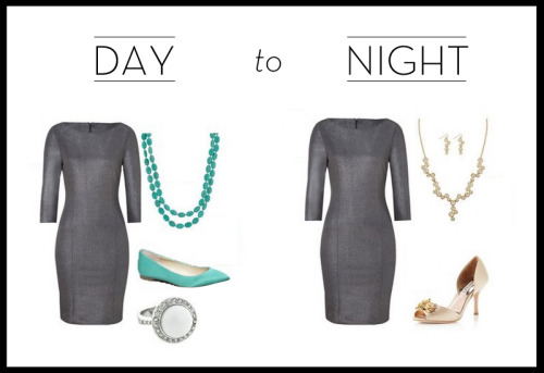 A sleek gray dress is very versatile and you can completely change the look by putting on different accessories! For the daytime, throw on a pop of vibrant color and a bit of shine with the Tobi necklace and Nadine ring. The night look and is all about glamour. Throw on the Kaydin set and heels for some serious sparkle and you're ready for a night out!