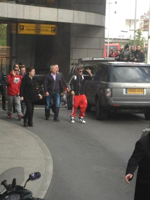 Justin heading off to the airport.