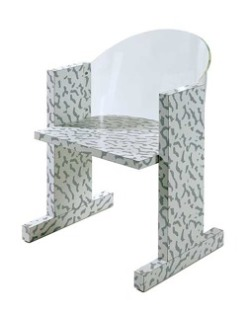 Ettore Sottsass Teodora Chair, 1983 Manufactured by Vitra; shaped acrylic back and frame decorated with Craquele laminate by Nathalie du Pasquier