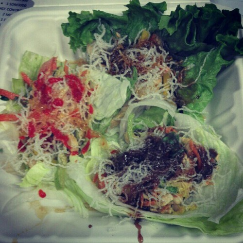 Work cafeteria lettuce wraps! Basically #thai #tacos :D (Taken with instagram)
