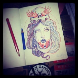 Jean Le Roux- skull, check… Girl, check… Flames, check…. Faber Castell pencils *FOLLOW* (Taken with instagram)