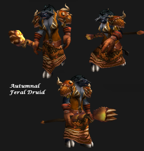 Putting together sample transmog sets for a friend and now thinking about going feral just for the fashions.  (See set at WowHead) I sometimes think a transmog set isn't really complete until it includes at least two expacs and at least two quality levels. Vanilla chest + BC Epics + LK Blues = Who knew?