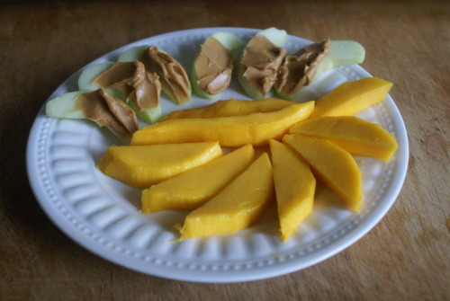 snack: apples with peanut butter and mango slices.