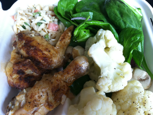 Lunchtime. I have mixed greens with no dressing, steamed cauliflower, some orzo, and a chicken leg and wing.