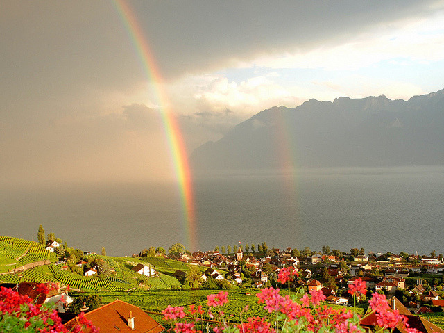 rainbow on the lake by mujepa on Flickr.
