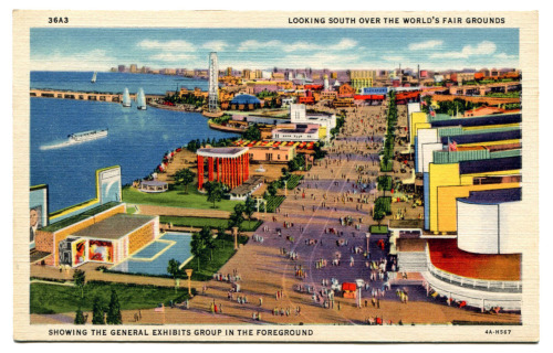 "The 1933 Century of Progress World's Fair was commemorating the centennial of the founding of Chicago. While this postcard doesn't show the entire Fair it does give the viewer a bit of perspective on the enormity of this creation. I remember my Grandma Alice telling me stories about the Fair and how it lifted the spirits of so many that needed lifting because of the Great Depression. As a matter of fact, it was so successful that it was extended into 1934. The success of this fair is probably why she kept so many mementos (a few of which I've already posted). The back of the card states ""A view looking south over the World's Fair Grounds showing the General Exhibits Group in the foreground: also showing Time and Fortune Pavilion, Firestone Exhibit, Paris, Thermometer, etc."" (The thermometer is that large tower in the background on the left.) With all of these buildings (most of which were in the now classic Art Deco style) you would think that at least a few of them remain. Sadly, this isn't the case. You'd be hard pressed to find any remnants from this event, which is not only sad but also weird considering the size and the fact that the number of visitors that attended was over 40 million!"
