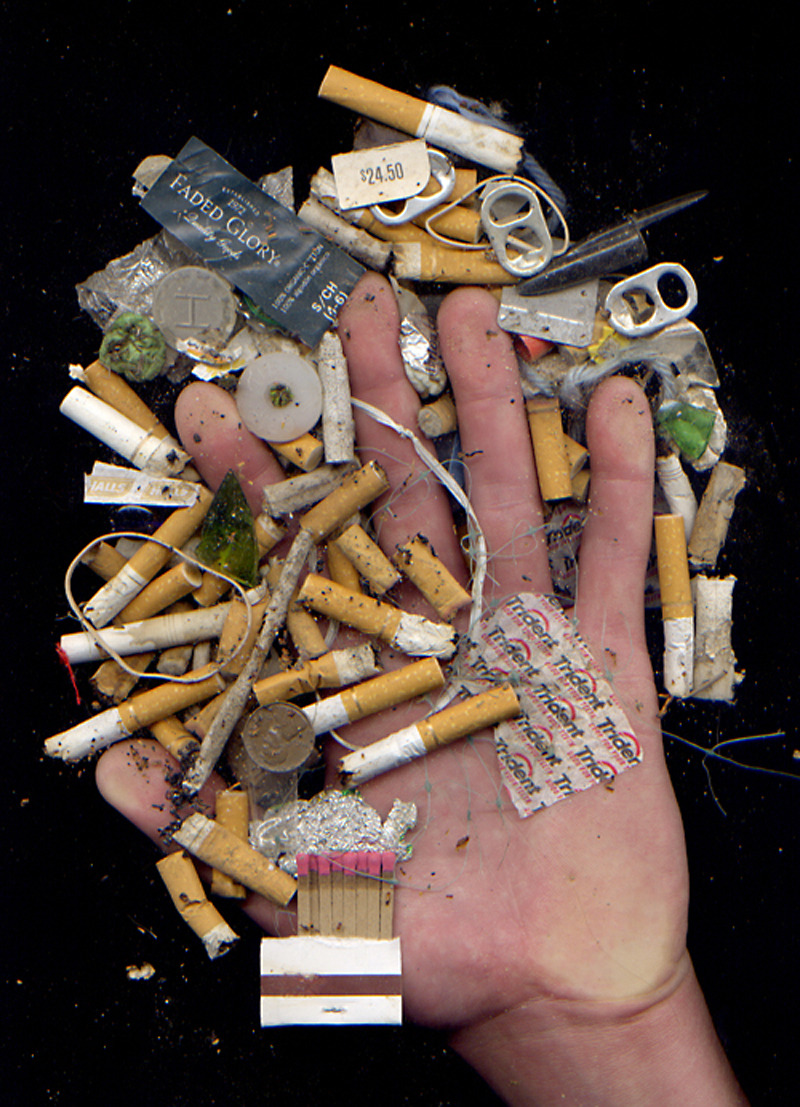 litter trash cigarettes pollution environmentalism smoking art scanograph scanography