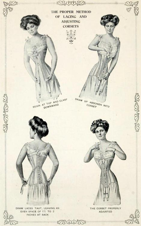 The Proper Method of Lacing and Adjusting Corsets. [Source: W.B. Corsets, 1895]