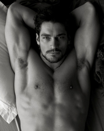 black and white portrait of model David Gandy…