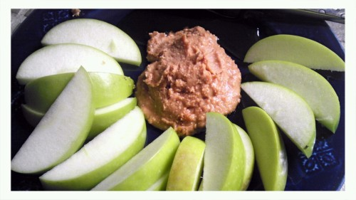 Simple & Delicious <3 Granny Smith apples with peanut butter and honey. <3 staying tasty