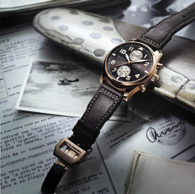 IWC Chronograph Edition Antoine de Saint Exupéry With being 144 years in business, the globally known watchmaker IWC definitely knows its craft. Now they've introduced their sixth tribute to Antoine de Saint-Exupéry, pioneering aviator and author of the little prince among others. This tribute is a truly rough pilot's chronograph yet still remains in the frame of elegance aesthetics. The 45mm huge case is made of 18kt rosé gold and houses the Swiss IWC in-house caliber 89361 with flyback complication, 38 jewels and a power reserve of 68 hours.