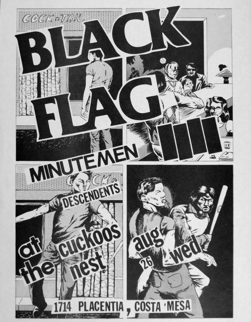 zombiesenelghetto:  Black Flag/Minutemen/Descendents flyer, artwork by Raymond Pettibon 1981