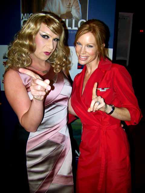 "SassySays.com Sassy with @Deltalina - Delta Flight Attendant Katherine Lee. ""Smoking is NOT allowed on any Delta Flights!"" #glaadawards"