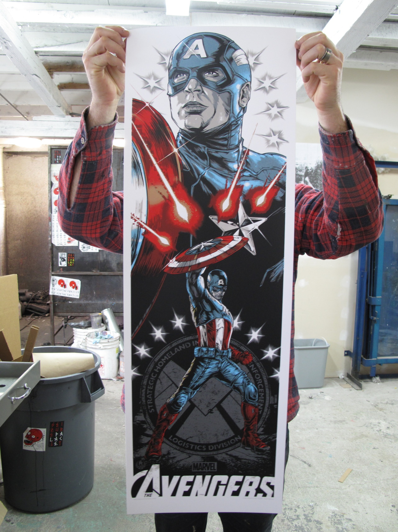 """CAPTAIN AMERICA""  BY RHYS COOPER  FOR GALLERY 1988'S""ASSEMBLE"" SHOW ON MAY 3RD 6 COLORS INCLUDING 2 METALLICS 12"" X 36""  COUGAR 100LB. COVER IN WHITE"