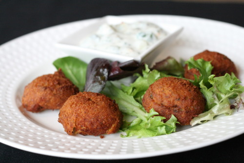 Chickpea Fritters!  Served with cucumber mint yogurt sauce.
