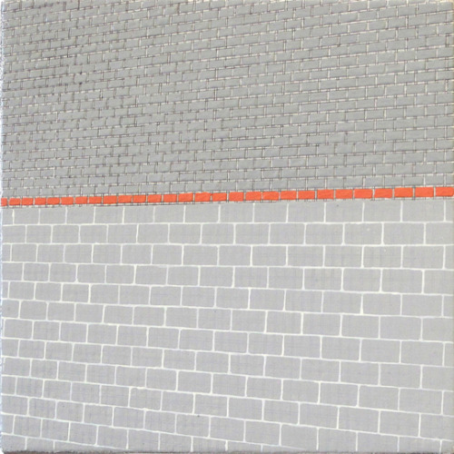 Sara Eichner, orange brick stripe on grey facade, 2010. Courtesy of Sears-Peyton Gallery.